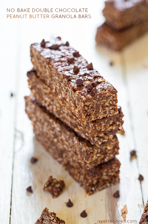 No-Bake Double Chocolate Peanut Butter Granola Bars(vegan,gluten-free)