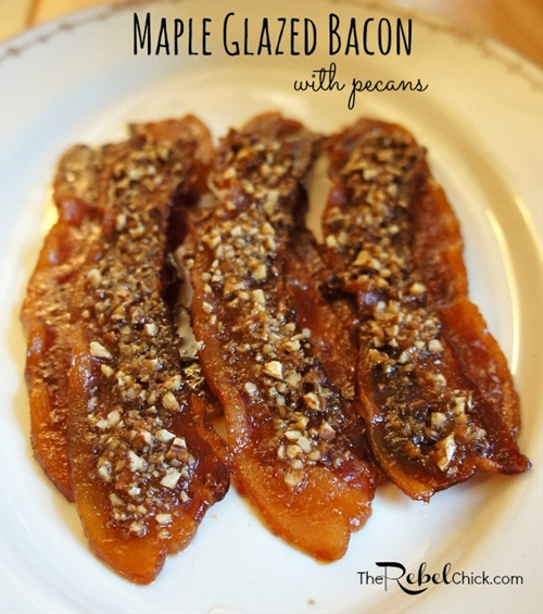 Maple Glazed Bacon Strips With Candied Pecans