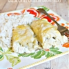 Cheesy Green Chile Chicken Enchiladas Recipe with White Rice