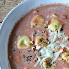Homemade Cream of Tomato Soup with Ravioli