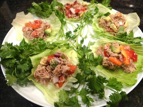 Tuna ceviche lettuce wraps with
