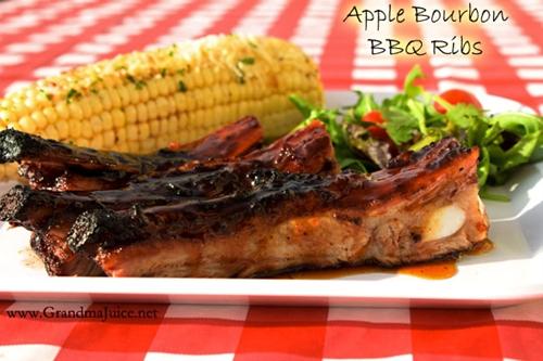 Sweet & Spicy Apple Bourbon BBQ Ribs