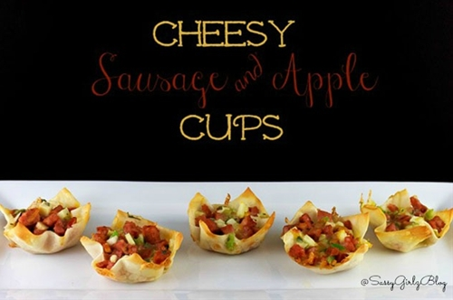 Tailgate and  Party Food Cheesy Sausage & Apple Phyllo Cups