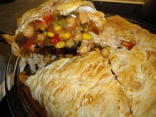 Mexican Chickpea Filo Pie