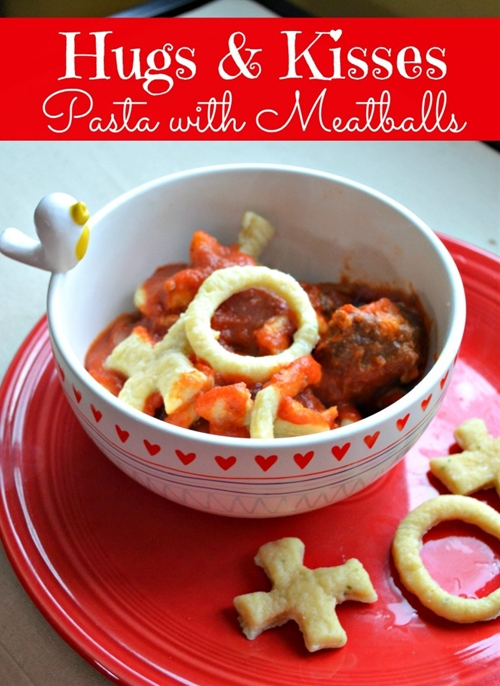 Hugs and Kisses Pasta with Meatballs