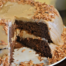 Fudge cake with caramel frosting