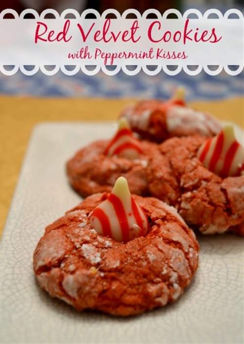 Red Velvet Cookies with Peppermint Kisses