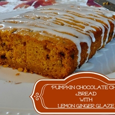 Pumpkin Chocolate Chip Bread with Lemon Ginger Glaze