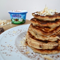 Double Dark Chocolate Chip Homemade Pancakes with Stonyfield Yogurt
