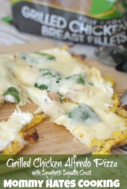 Grilled Chicken Alfredo Pizza with Spaghetti Squash Crust