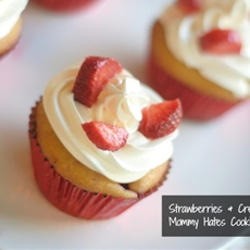 Strawberries & Cream Cupcakes with Cool Whip Frosting